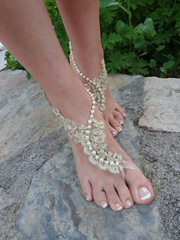 Gold French Lace Pearls Barefoot Sandals. Bride Bridesmaids Barefoot Sandals..beach Wedding Sandals..bridesmaid Gift.. La
