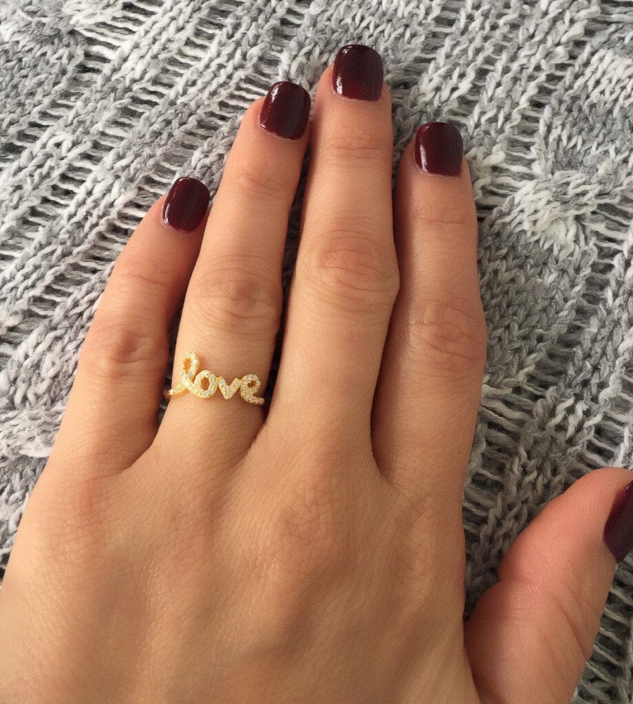 Love Ring. Solid Silver Love Gold Rose Gold Cursive Rings. Word Silver