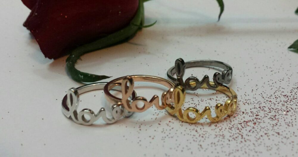 Love Script Ring, Dainty Romantic Love Ring, Handwritten Love, Stack Ring Gift, All Ring Size