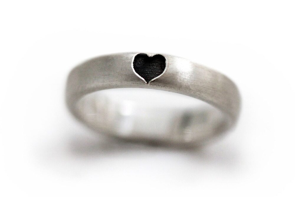 Silver Love Ring, Heart Band Unique Gift , Promise Love Black Heart Engagement Anniversary Ring