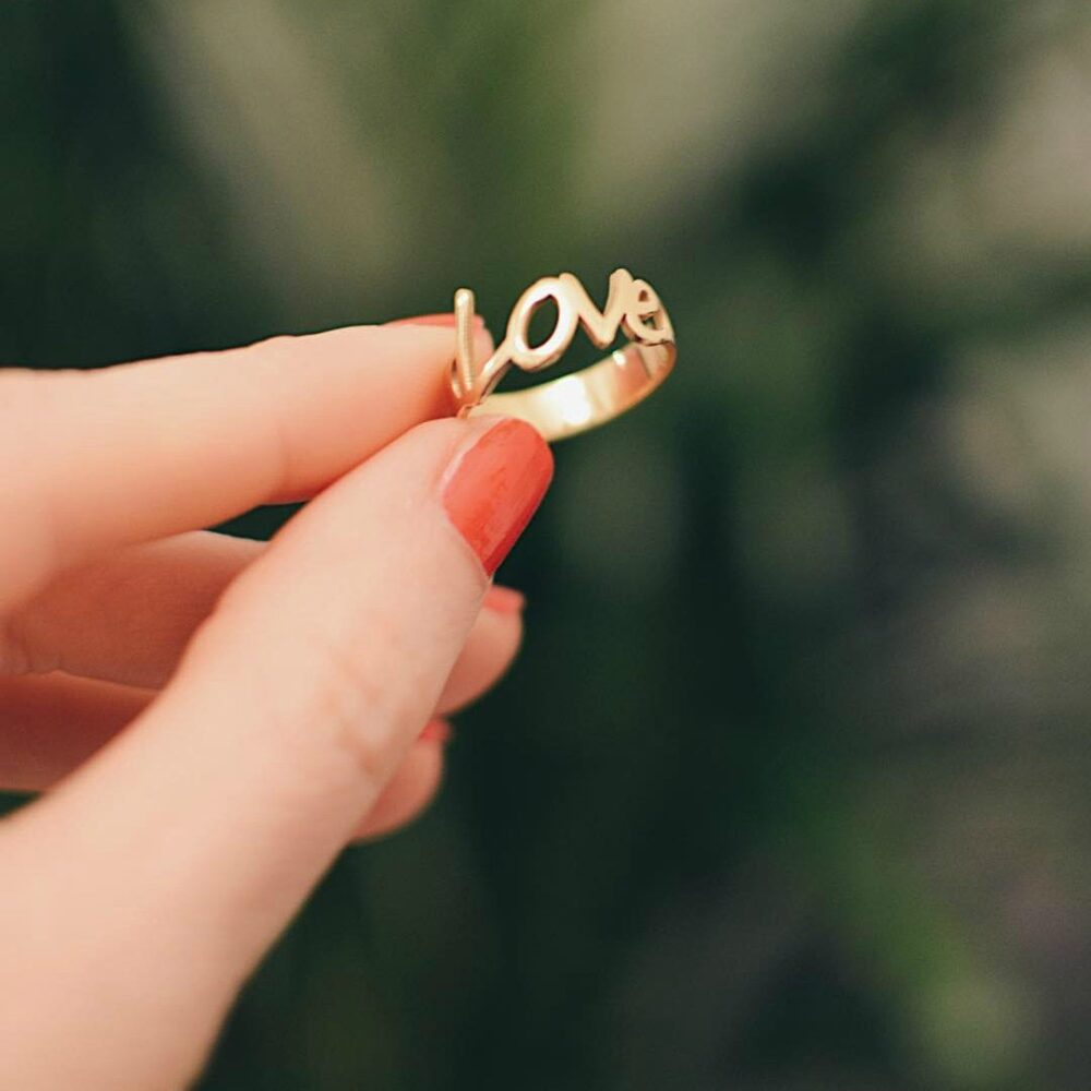 Gold Love Ring • I You Sterling Silver Women Band Name Unique Gift For Wife, Girlfriend Birthday Ideas
