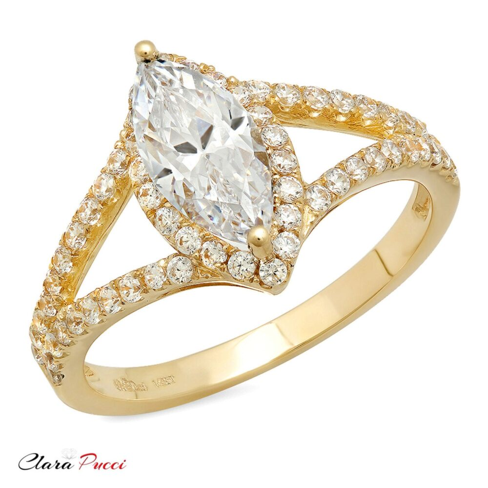 Promise Love Ring, Ring Promise, 1.20Ct Marquise Cut Moissanite Engagement Rings Band 14K Yellow Gold