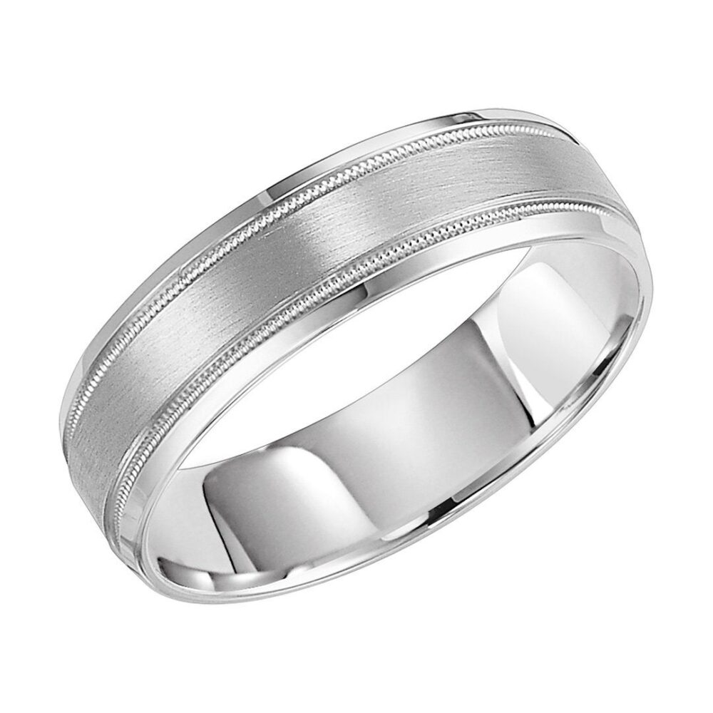White Gold Mens Wedding Bands, Satin Finish Rings, 6mm 10K 14K 18K Solid His & Hers Rings