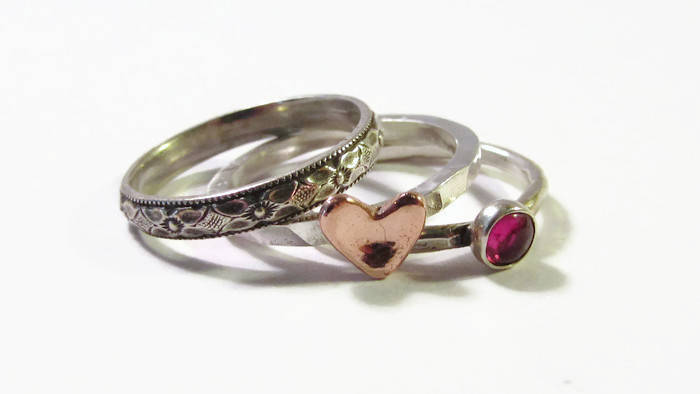 Stack Ring Set, Copper Heart, Stack Ring, Initial Ring, Mother Ring, Birthstone Ring, Floral Band, Boho Ring, Mom Ring, Valentines Gift, Gift For Her