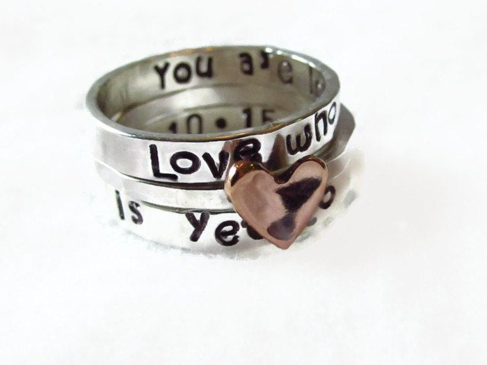 Both Sides Stamped Personalized Stack, Name Ring, Copper Heart, Stack Ring, Mother Ring, Hand Stamped Ring, Mom Ring, Valentines Gift, Gift For Her
