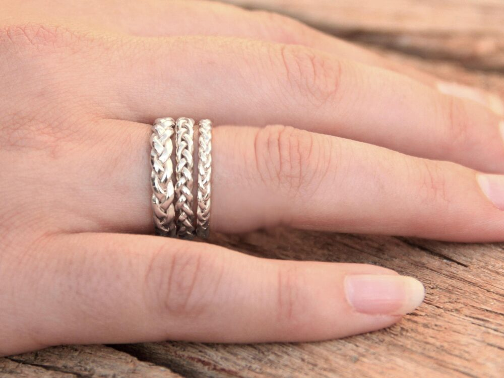 18K White Solid Gold Wedding Band For Women, Braided Ring Eternity Ring, Celtic Band, Gifts Women
