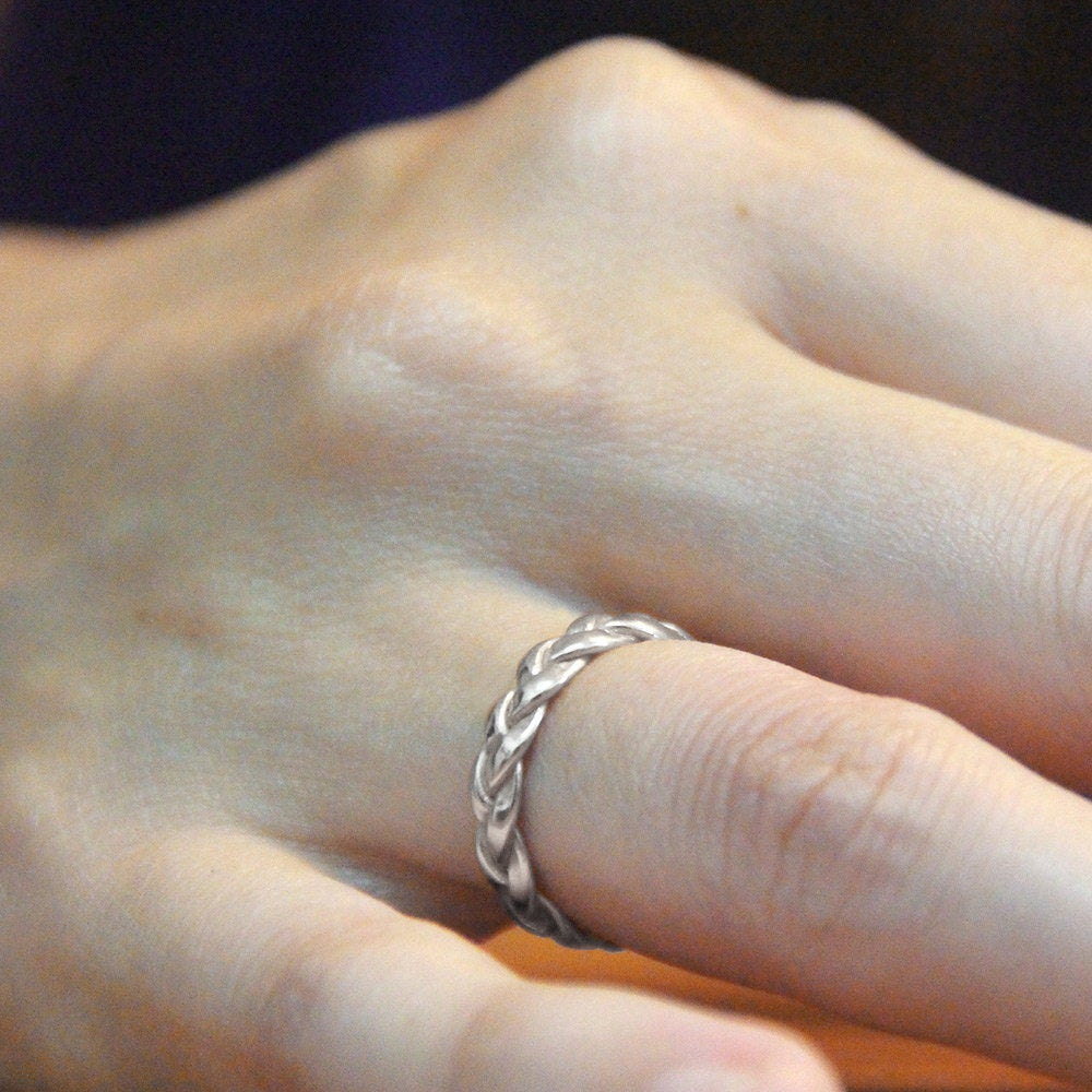 14K White Gold Wedding Band, 4mm Braided Solid Ring, Eternity Celtic Band