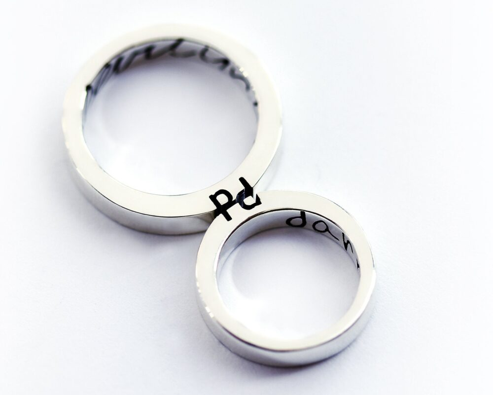 Unique Matching Wedding Band, Band Set, His & Her Promise Rings, Mens Gold Rings, Couple Ring Hers Rings
