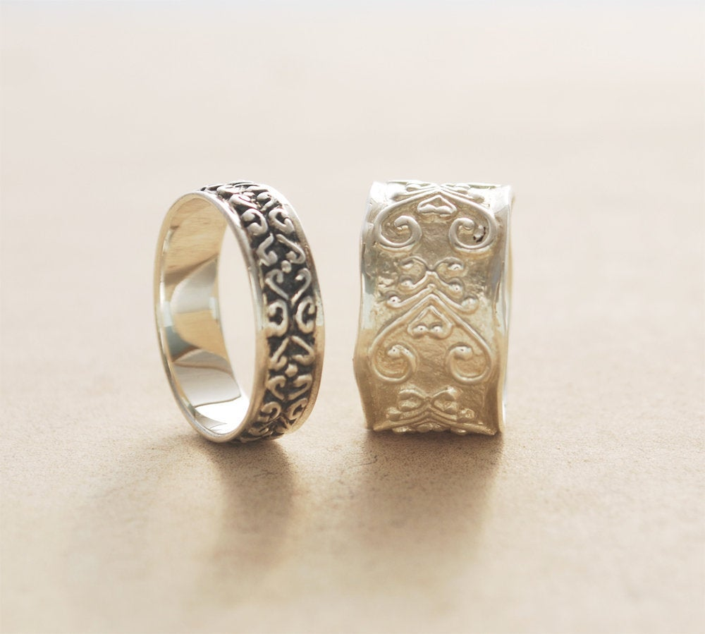 Matching Wedding Bands, His & Hers Couples Bands Set, Rings Pattern Rings, Rustic Ring