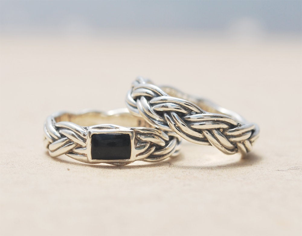 Wedding Bands Set, Rings Matching Bands, Couples His & Hers Sterling Silver & Onyx Ring