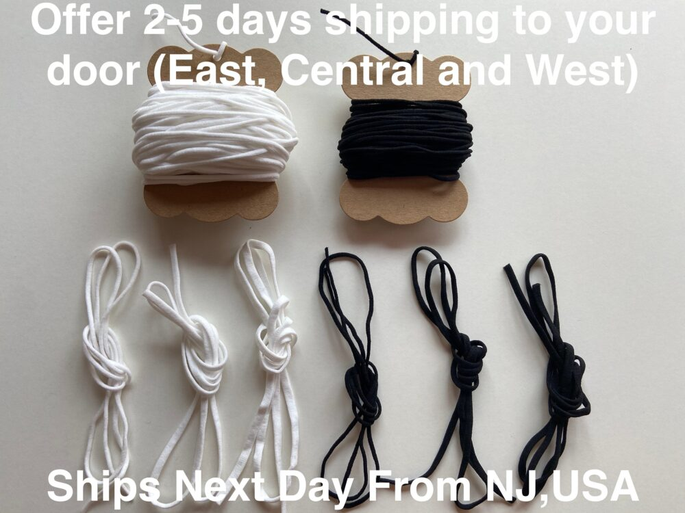 2mm| 3mm| 4mm| 5mm Soft Round/ Flat White/ Black Elastic Cord | Rope Band Earloop For Sewing & Diy Face Mask