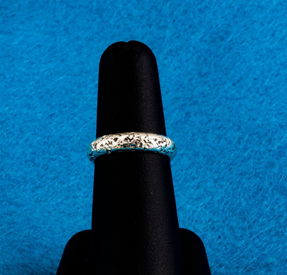 Argentium Silver Handmade Wedding Band, Vow Renewal Ring, Textured Hammered Fine Comfort Fit Band