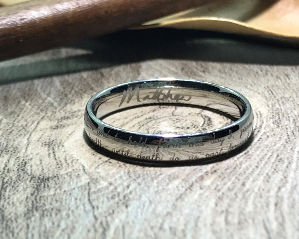 Handmade Your Marriage Vow & Signature Rings White Gold Colour Wedding Ring Titanium Band Couple Dome Shape 4mm
