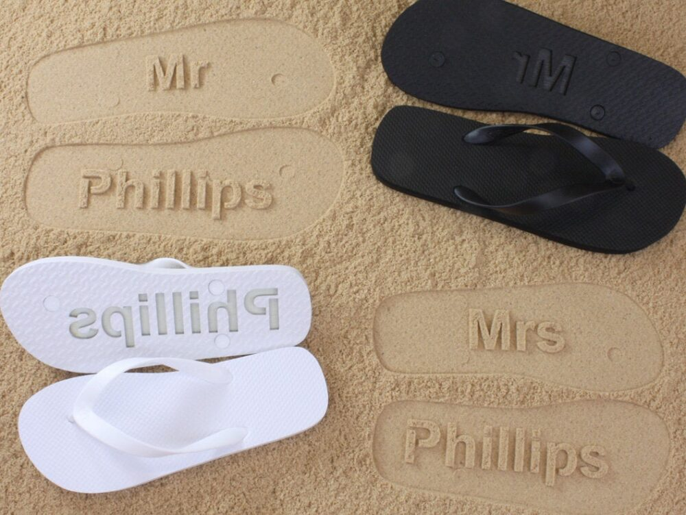 His & Her Personalized Wedding Flip Flops | Listing Is For One Pair - Available in 140+ Color Combinations