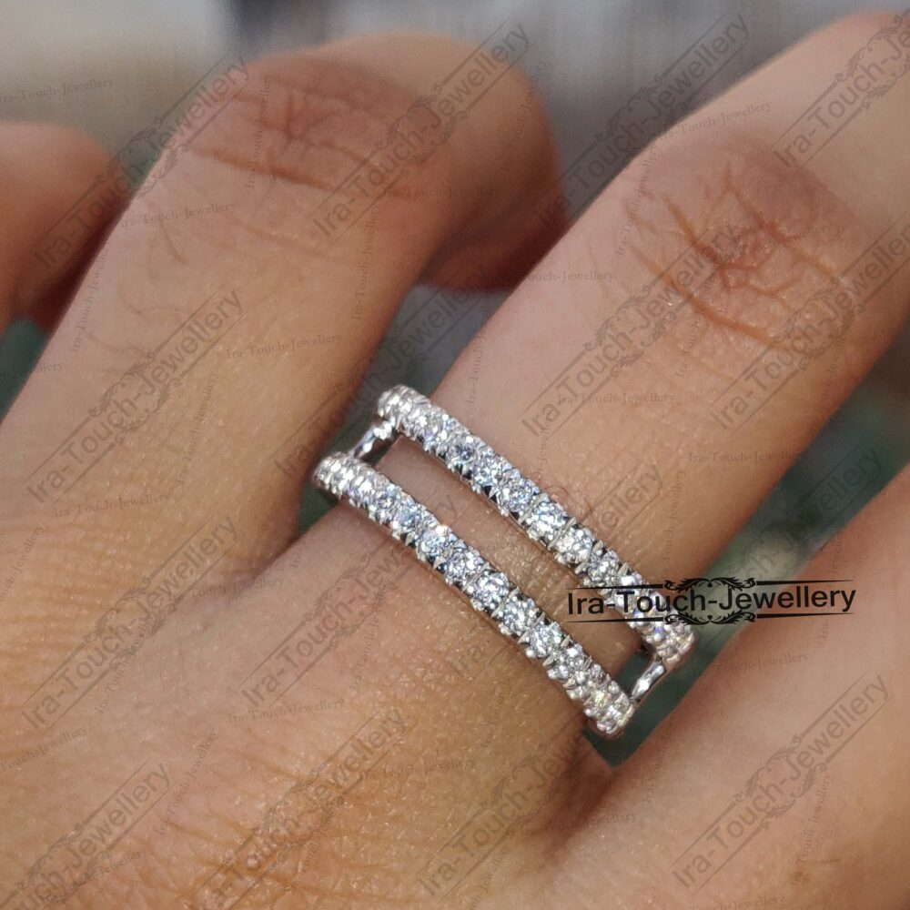 Cz Diamond Band Enhancer Ring, 18K White Gold Over Guard Band, Anniversary Engagement Ring Enhancer, Solitaire