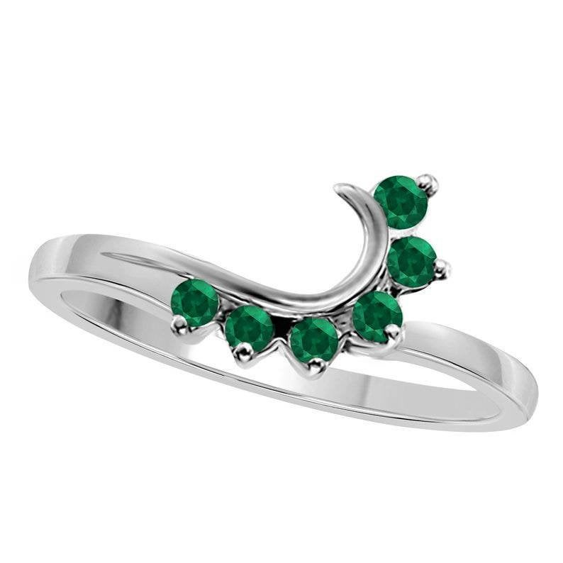 14K White Gold Plated Silver Round Cut Green Emerald Wedding & Engagement Band Enhancer Guard Ring For Women's