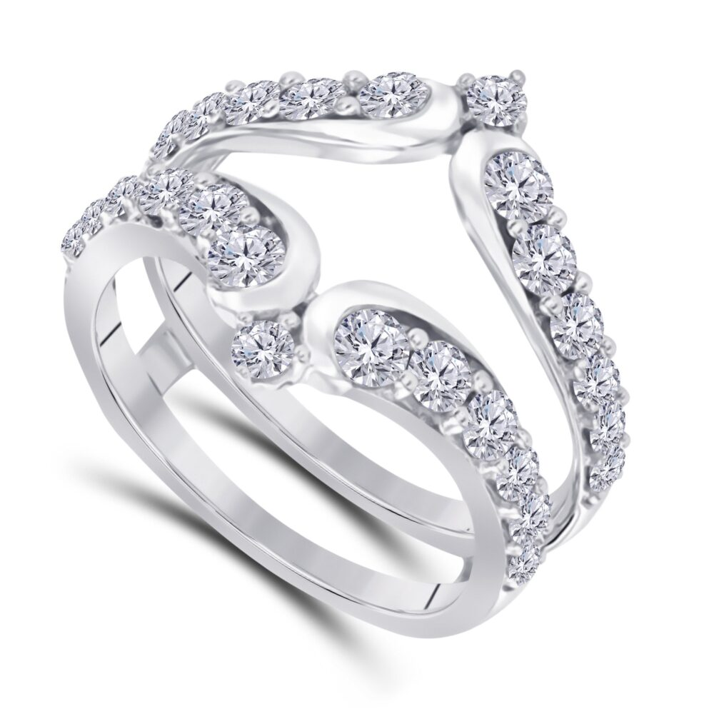 White Gold Plated 925 Sterling Silver Forever Beautiful Cz D/Vvs1 Simulated Diamond Ring Solitaire Enhance Guard Vintage Style Chevron