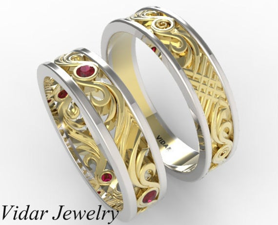 Matching Wedding Band Set, His & Hers Ruby Unique Set in Yellow & White Gold, Two Tone Gold