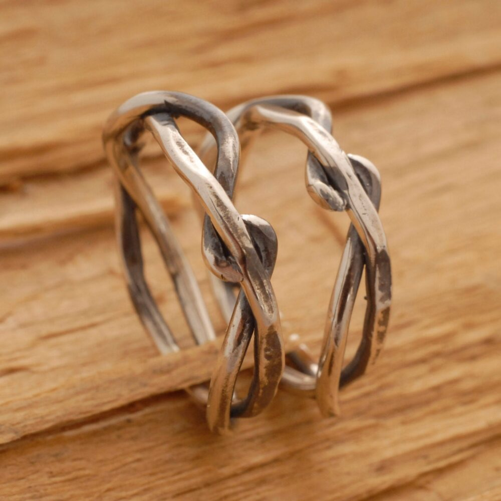 Twisted Tree Branch Wedding Band Set, Rustic Sterling Silver Bands, Commitment Jewelry, Be14