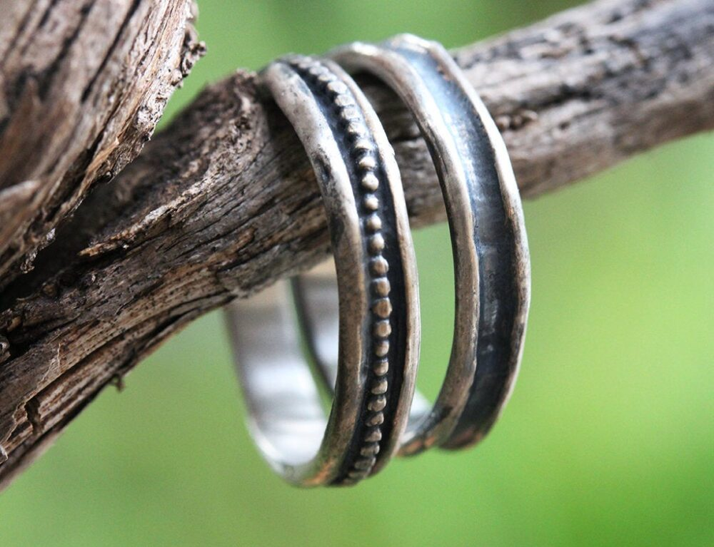 Wedding Band Set, Silver Bands, Couples Rings, Rustic Vintage Style Oxidized
