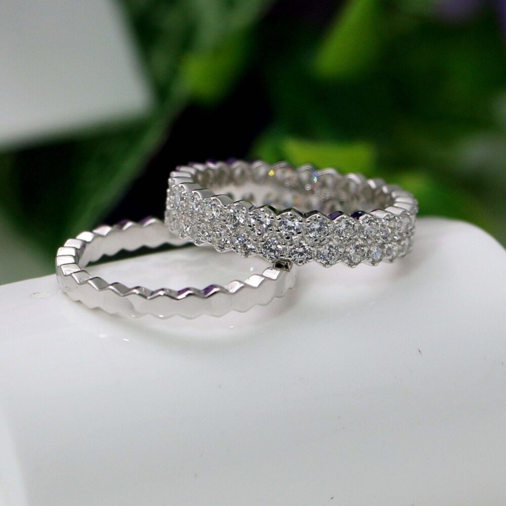 Eternity Band Ring, Silver Eternity Ring, Cz Band, Stackable Band Wedding Ring Set