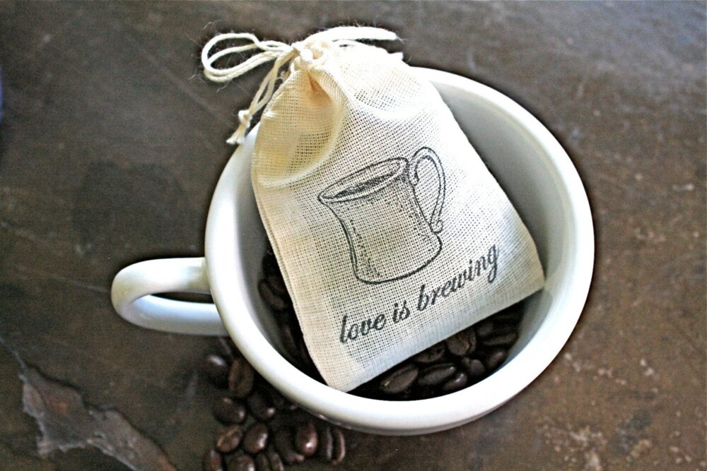Coffee Favor Bags For Wedding, Shower, Or Party - Hand Stamped Coffee Tea Favor Bags Love Is Brewing, Cloth Cotton Gift Bag Guests