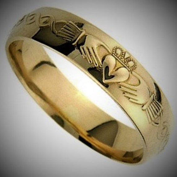 Claddagh Wedding Band - Gold Ring Unique Handmade in Lreland . Free Worldwide Shipping & Engraving