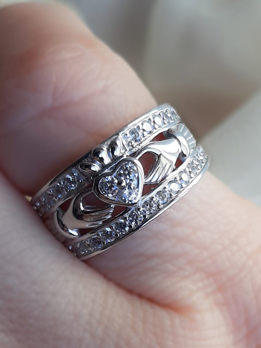 Silver Claddagh Band, Irish Ring, Celtic Unique Zirconia 12mm Sterling Ring Wedding Band