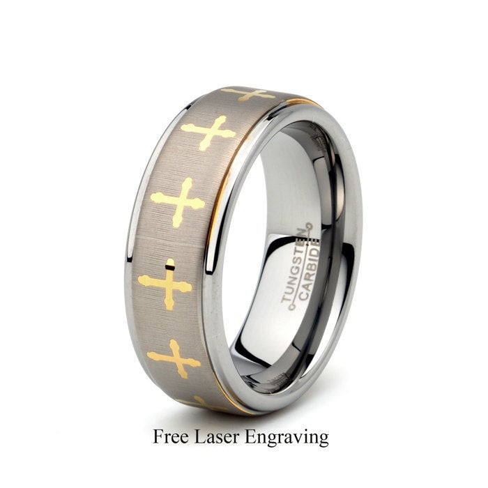 Tungsten Wedding Band, Cross Ring, Christian Men's Brushed, Gold Anniversary Band