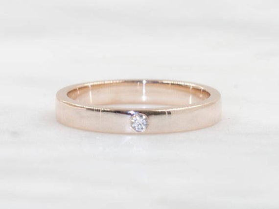 3mm Diamond Wedding Band/Diamond Promise Ring/14K Solid Gold Unixex Ring/Simple Ring Band/Womens Band/Men's Band