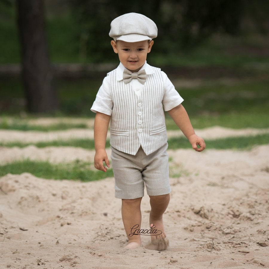 Toddler Linen Outfit Baby Boy Vest Shorts Shirt Newsboy Hat Rustic Ring Bearer Suit Country Set Baptism Page Natural