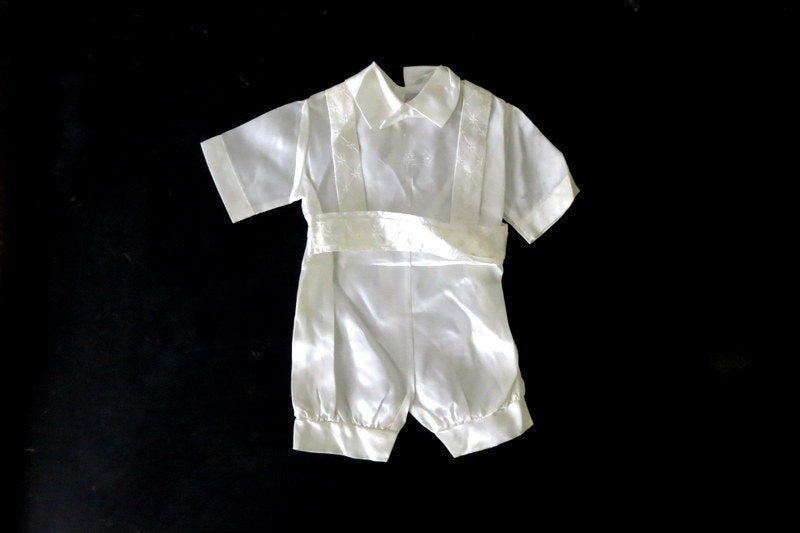 Baby Boy's White Baptism Suit Pants Suspenders Bow Tie Shirt Boys Christening Blessing Day Ring Bearer Wedding Outfit 6-12 Months