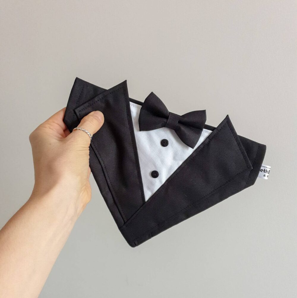 Classic Dog Tuxedo Bandana, Bow Tie, Wedding Outfit, Clothing, Accessories, Pet Ring Bearer, Suit