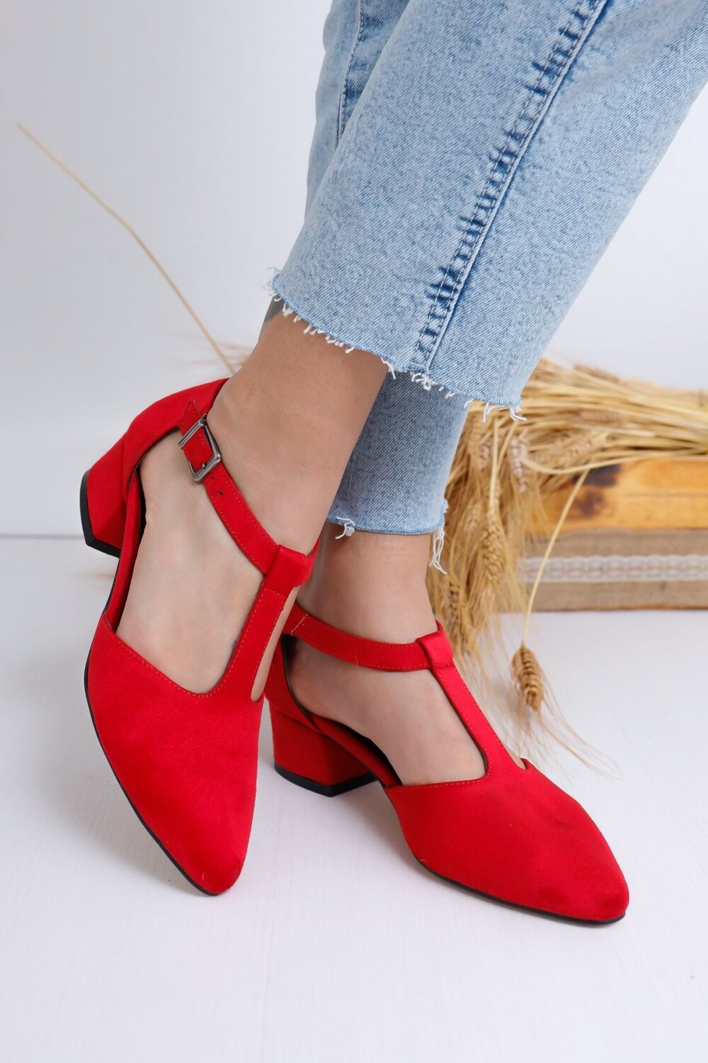 Red Mary Janes, T-strap Shoes, Bridal Red Suede Heels, Low Block Wedding Shoes For Bride, Boho Heels