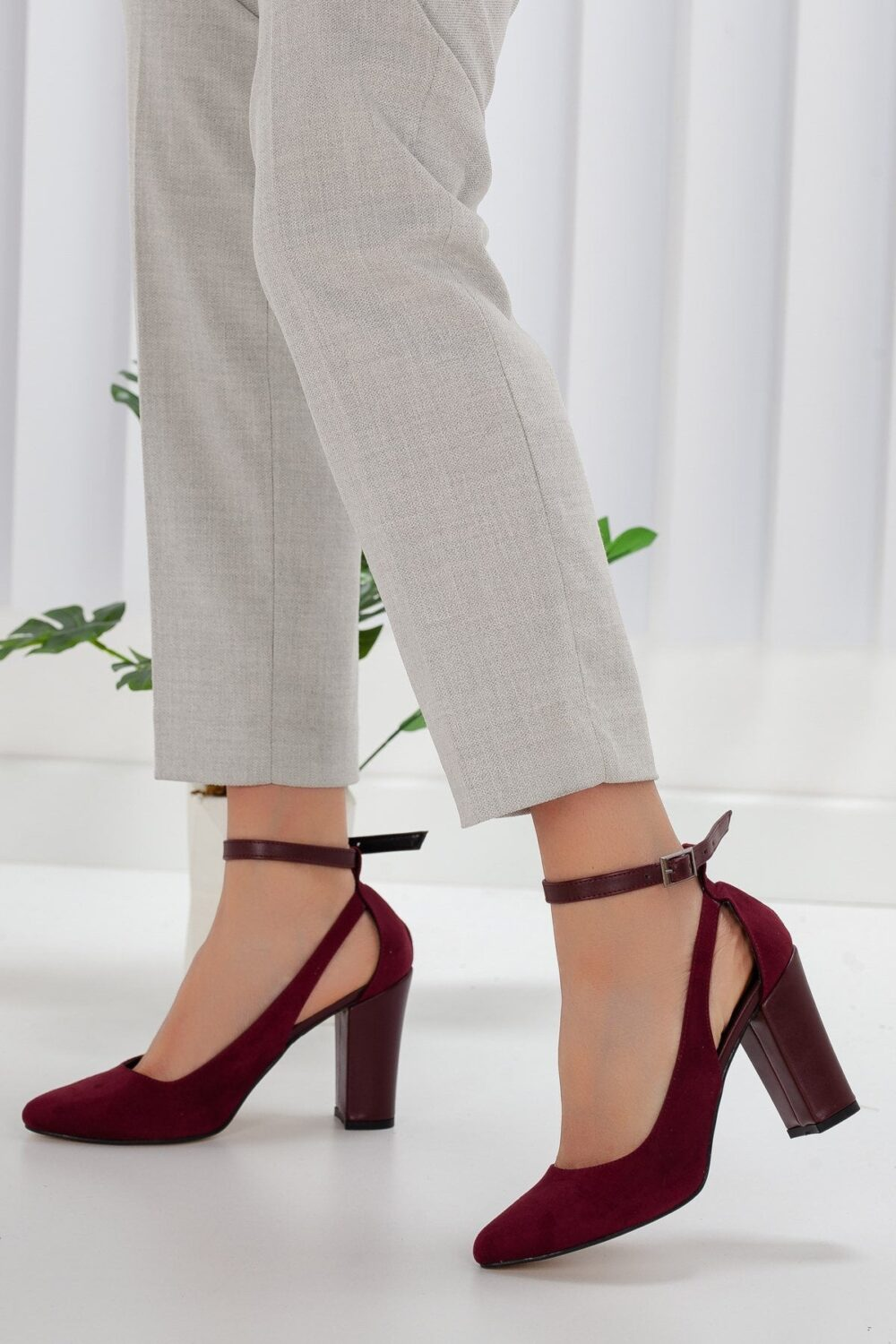 Burgundy Heels Shoes, Bridal Ankle Heels, Burgundy Stripe Shoes, Modern Women Suede Leather Heeled Party Wear Gift For Wife