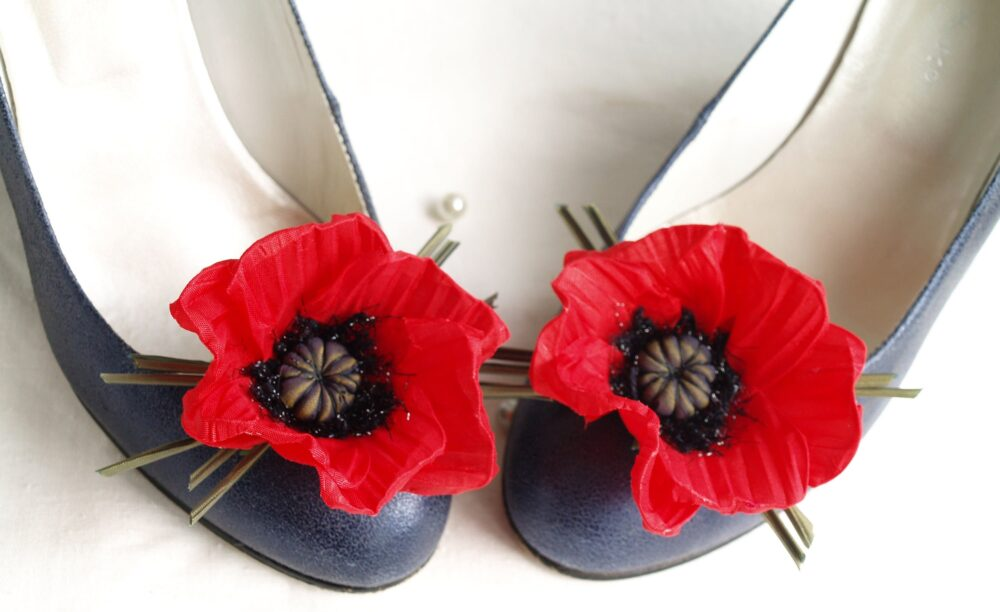 Red Shoe Clips Poppy Silk Flowers Wedding Bridal Floral Brooch Gift For Her Festival Women Accessories Poppy