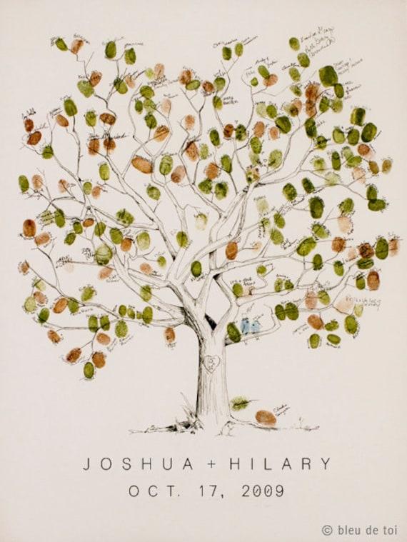 "Fingerprint Tree, Wedding Guest Book Alternative, Large 20x30"" Great Oak Tree, Guestbook, Thumbprint Rustic"
