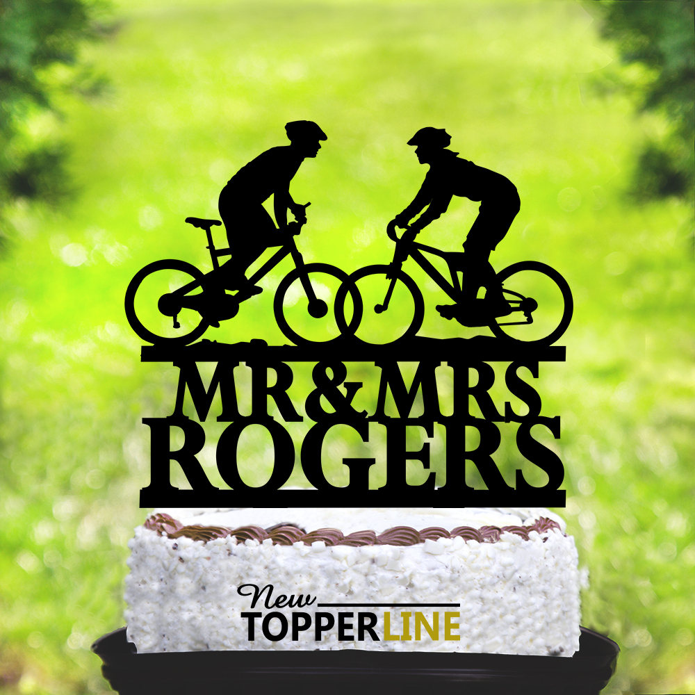 Wedding Bicycle Cake Topper, Wedding Topper, Bride & Groom Silhouettes On Bike, Bicycle Silhouette Topper, Mountain Bike Couple   2058