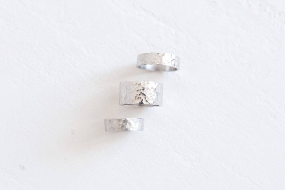 Hammered Rings Wedding Rings Beauty Gift Unique Wedding Ring For Him Her Anniversary Silver Bands Wide