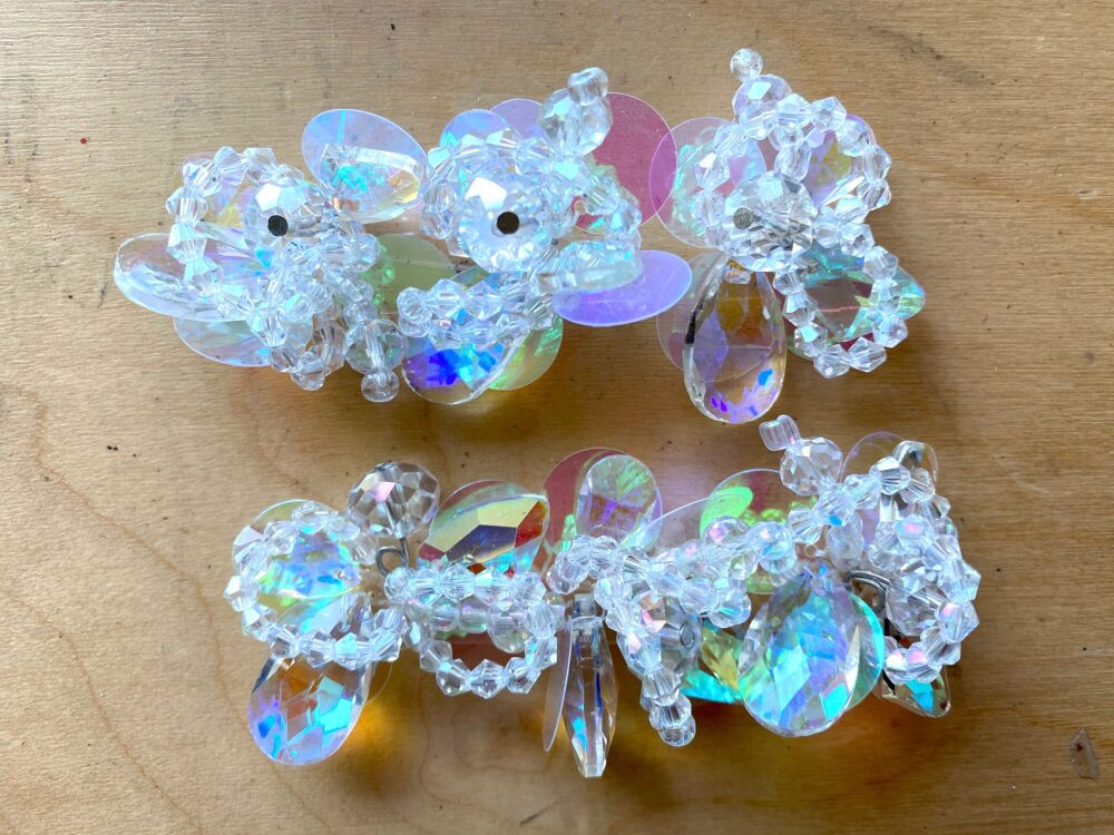 2 Pieces - Aurora Clear Flower Crystal Trim, Glass Flowers Beads Cluster Flowers, Shoes Decoration