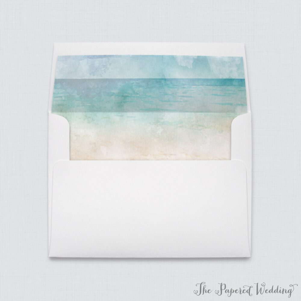 Wedding Envelopes With Beach Themed Envelope Liners - White A7 Watercolor Liners, Ocean & Sand 0035
