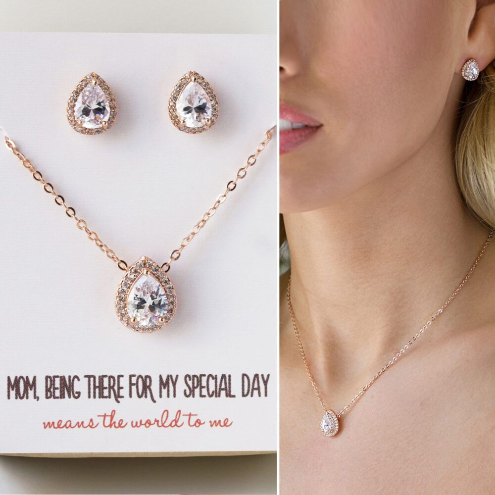 Gift For Mom, Mother Of The Groom Gift, Wedding Jewelry, Earring & Necklace Set, Gold N528-D
