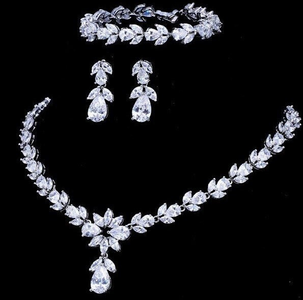 Cz Silver Bridal Jewelry Set Wedding Necklace Earring Bracelet Luxurious Faux Diamond Statement Mother Of The Bride Gift
