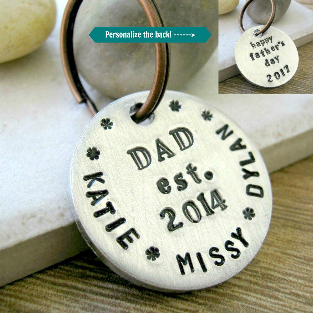 Personalized Dad Keychain, Father's Day Gift, Gift For Dad, Daddy Two Sided, Sturdy Disc