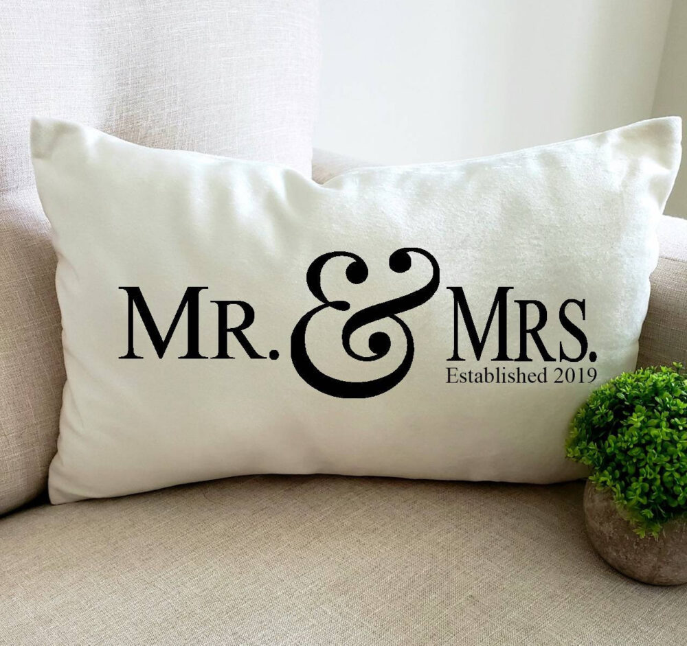 Mr. & Mrs.  Throw Pillow Cover  Wedding Gift  Custom Throw Pillow  Housewarming  Personalized Christmas Gift