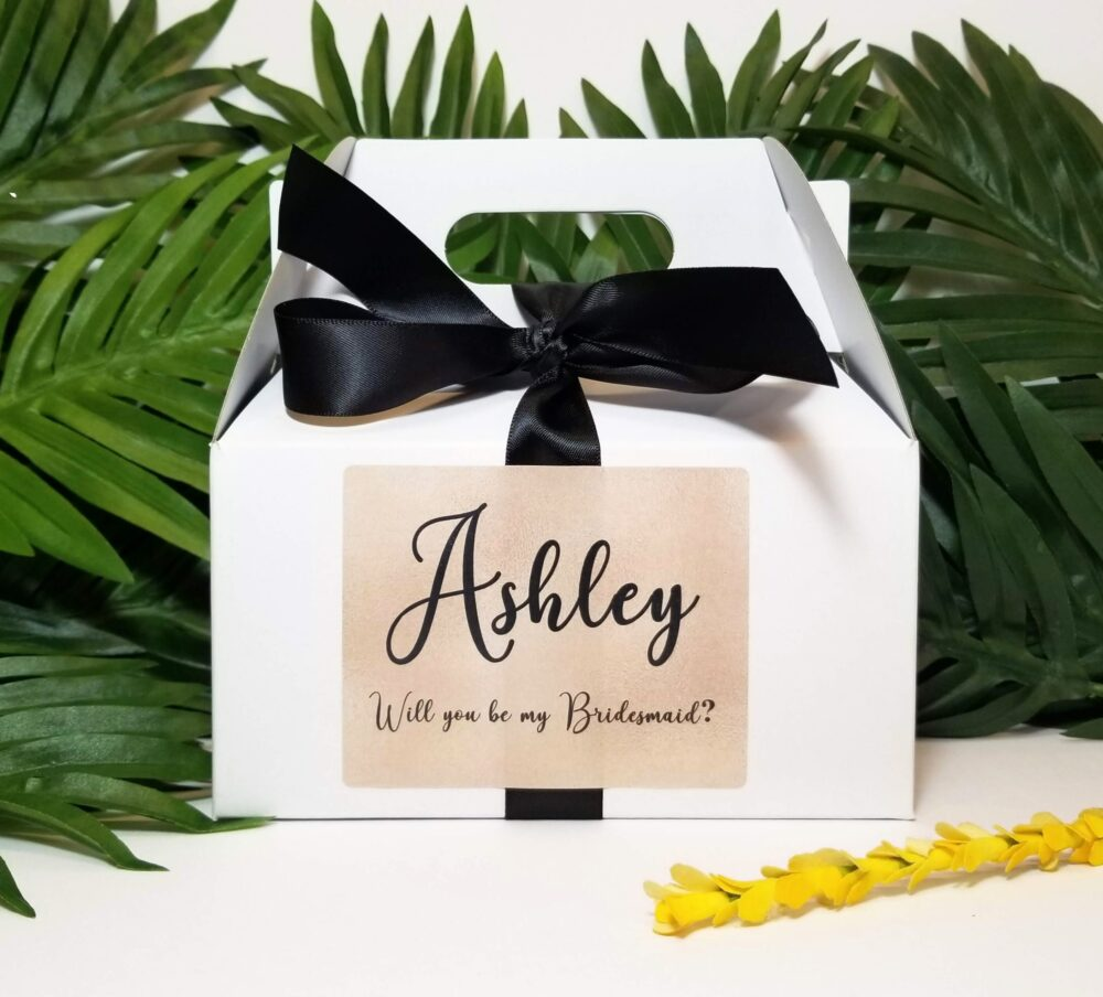 Bridesmaid Proposal Box - Gable Wedding White Question Bridal Party Maid Of Honor Gift