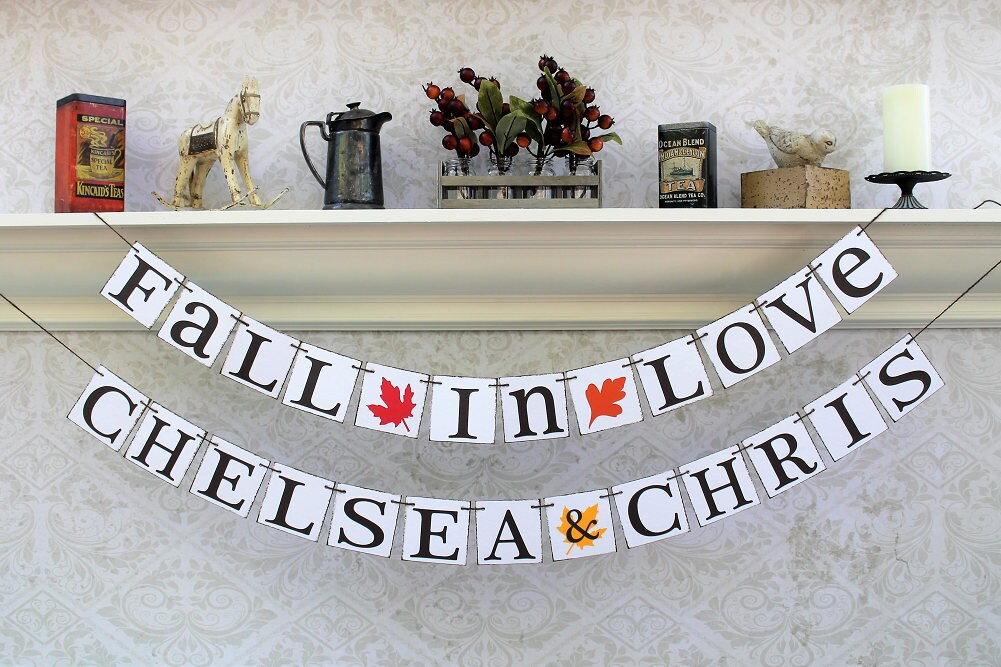 Fall Wedding Decorations - Autumn Leaves Fall Colors Themed Wedding Engaged Photos