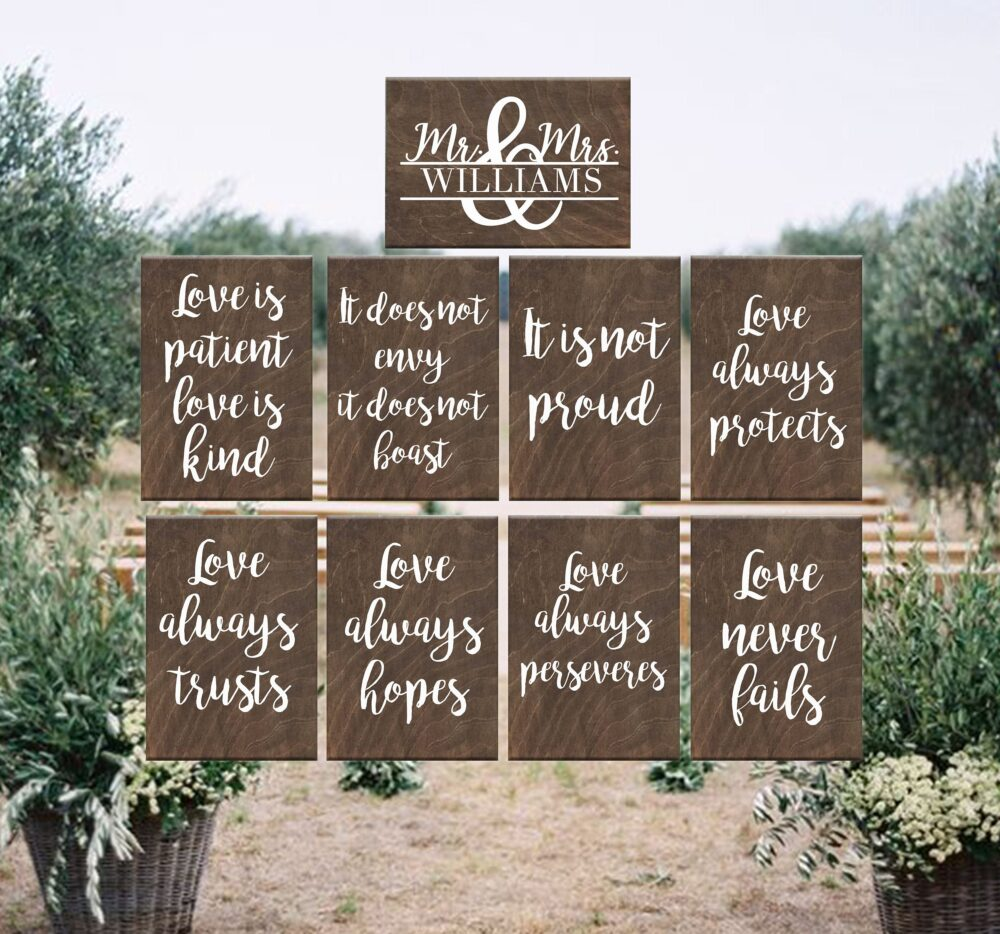 Personalized Wooden Wedding Signs, 1 Corinthians 13, Love Is Patient Love Is Kind, Rustic Wedding, Ceremony Decor