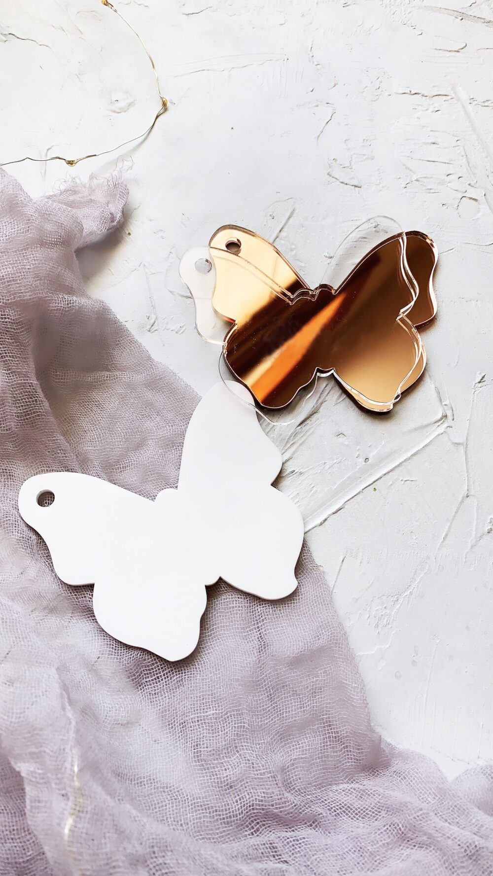 Blank Acrylic Butterfly Ornament Gift Tag - Place Card Name Silver Plate Mirror