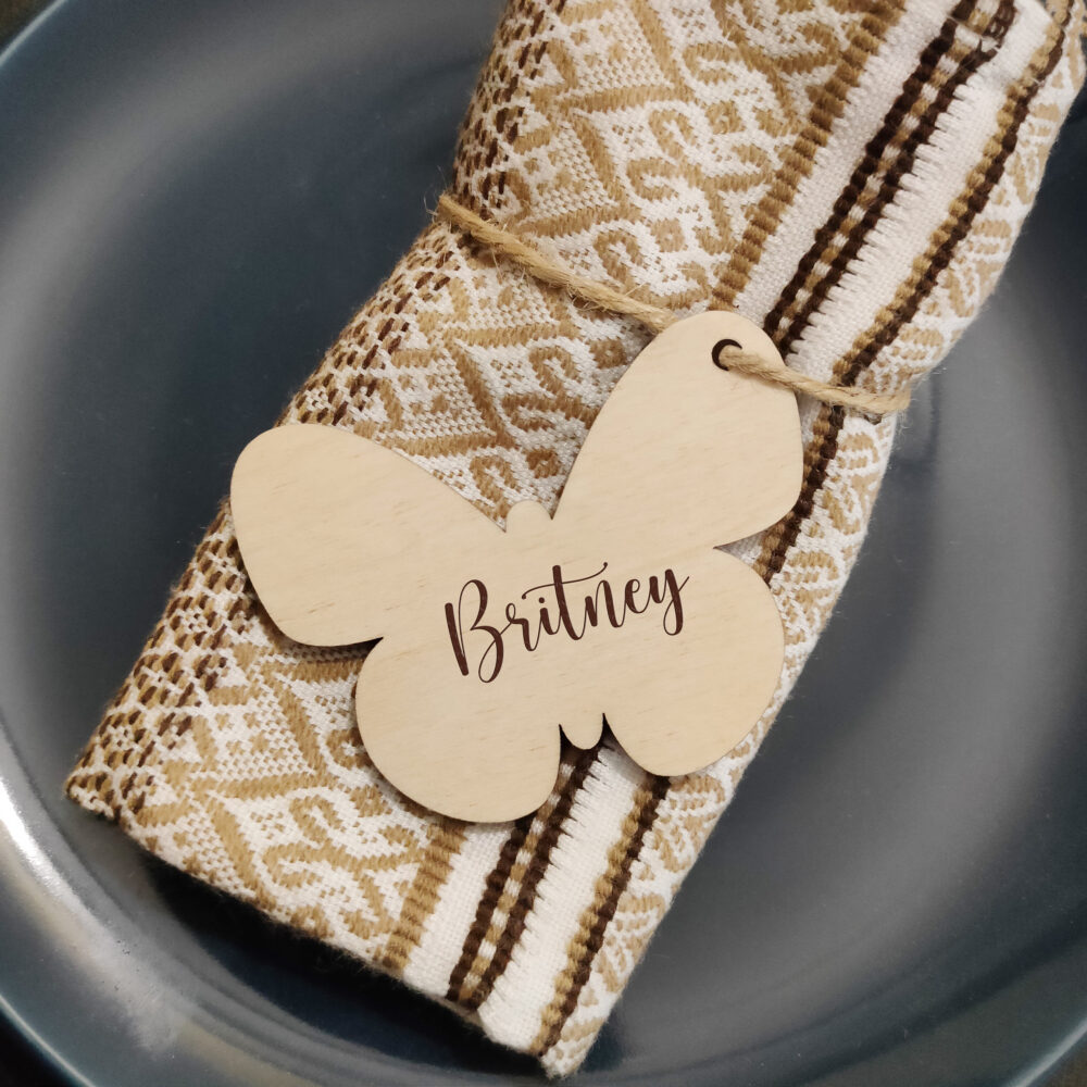Butterflies Wedding Place Tag, Personalized Names, Rustic Seating, Butterfly Card